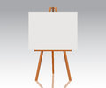 Wooden easel with empty canvas. Blank space ready for your advertising, design and presentation. Vector mock up illustration.