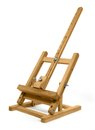Wooden easel a small desk in white back Royalty Free Stock Photography