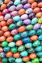 Wooden easter eggs background. Stock Photo