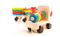 Wooden educational toys. colorful train  Stock Photo