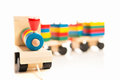 Wooden educational toys. colorful train isolated Royalty Free Stock Photo