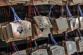 Wooden ema plaques at the meiji shrine in tokyo japan are small on which shinto worshippers write their prayers Royalty Free Stock Photography