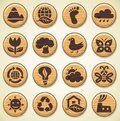 Wooden environment icons set Stock Photo