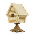 Wooden fairy house on a stump isolated on a white background. 3d