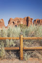 Wooden fence in arches national park desert moab utah Stock Image