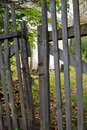 Wooden fence in a countryside. Color photo.
