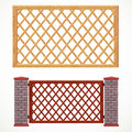 Wooden fence from crossed planking and with post from bricks in two variants of colors Royalty Free Stock Photography
