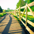 Wooden fence on farm at sunrise a Royalty Free Stock Photography