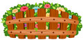 Wooden fence with flowers Royalty Free Stock Photo