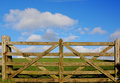 Wooden fence with gras and sky Stock Image