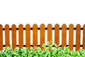 Wooden fence and grass isolate Royalty Free Stock Photography