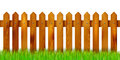 Wooden fence and grass - isolated on white background Royalty Free Stock Photo