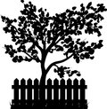 Wooden Fence with grass and tree silhouette isolated vector symbol icon design. Royalty Free Stock Photo