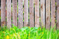 Wooden fence with green grass background focus on Royalty Free Stock Images
