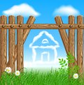 Wooden fence and clouds house Stock Photo