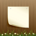 Wooden fence and paper background banner on grass with flowers illustration Royalty Free Stock Photo