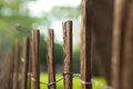 Wooden fence in this picture we have a but only one of the panels is in focus Stock Image