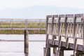 Wooden fences on path way swamp field over Royalty Free Stock Image