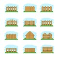 Wooden fences vector illustration set Royalty Free Stock Photos