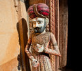 Wooden figures of rajasthan man in turban standing outdoor india Stock Photo