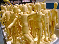 Wooden figurines big bunch of for art school Royalty Free Stock Photos