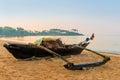 Wooden fishing boats at dawn Royalty Free Stock Photo