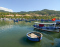 Wooden fishing boats on lake in Phuyen, Vietnam Royalty Free Stock Photo