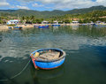 Wooden fishing boats on lake in Phuyen, Vietnam. Royalty Free Stock Photo