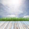 Wooden floor with beautiful blue sky scenery for background Royalty Free Stock Photo
