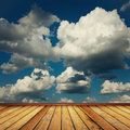 Wooden floor brown against the sky Royalty Free Stock Photos