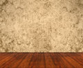 Wooden floor with grunge wall old beige Stock Photography