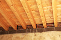 Wooden floor seen from below a an ancient building under restoration landscape cut Royalty Free Stock Images