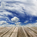 Wooden floor and sky with clouds image Royalty Free Stock Photos