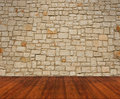 Wooden floor with stone wall beige Stock Images