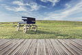 Wooden flooring and view of nature with vintage filter effect Royalty Free Stock Photo