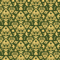 Wooden floral damask seamless pattern background vector with hand drawn elements Stock Photo