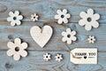 Wooden Flowers, Heart, Black C...