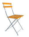 Wooden folding chair isolated over white clipping path. Royalty Free Stock Photo