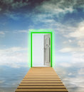 Wooden footbridge with door to another dimension illustration Stock Photo