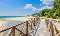 Wooden footbridge over the river. Black Sea Coast, resort Albena, Bulgaria Royalty Free Stock Photo
