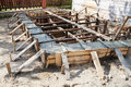 Wooden formwork concrete foundation of house at building yard Royalty Free Stock Photography