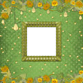 Wooden frame on the abstract background with bunch of flowers and streamers Stock Photography