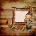 Wooden frame on autumn background Royalty Free Stock Image