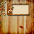 Wooden frame with autumn leafs Stock Images