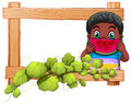 A wooden frame with a boy eating watermelon Royalty Free Stock Photo
