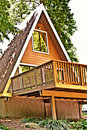 Wooden A-Frame House / Deck Stock Photos