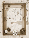 Wooden frame and mechanical clock gears on the old table Royalty Free Stock Photo