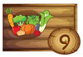 A wooden frame with nine vegetables illustration of on white background Stock Images