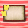 Wooden frame and to yellow notes Royalty Free Stock Images