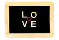 Wooden frame vintage chalkboard isolated on white with word LOVE created of wood letters Royalty Free Stock Photo